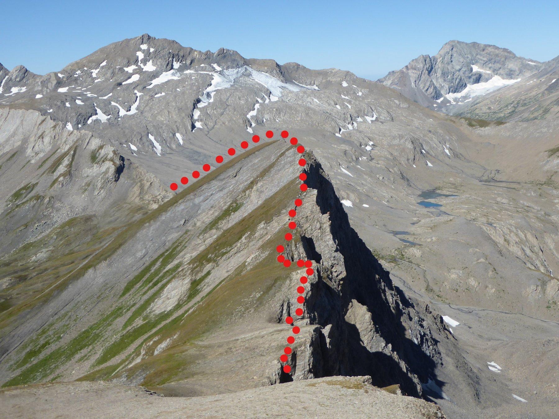la cresta percorsa dal colle di Bassa Serra al colletto 2850