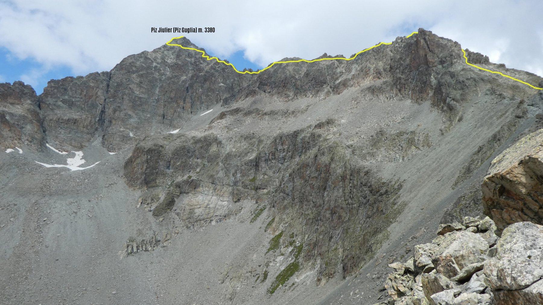 itinerario di cresta da seguire per arrivare in cima al Piz Julier