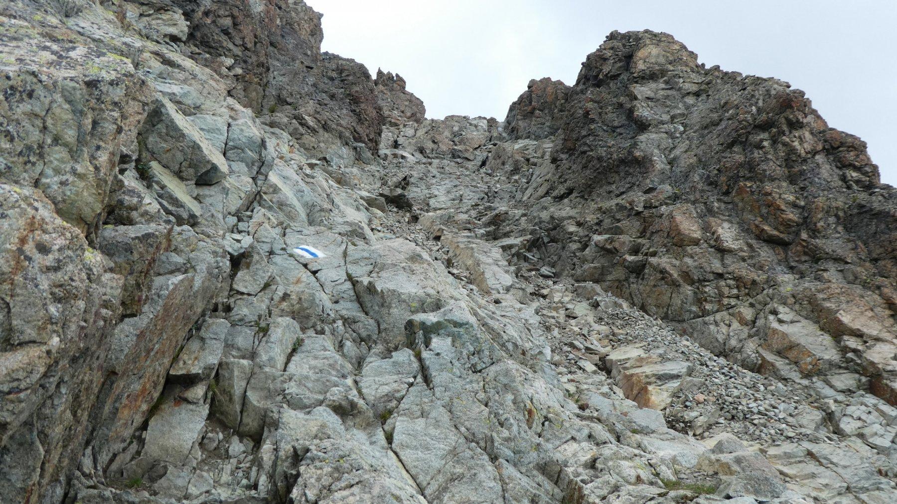 un tratto del percorso della cresta SE del Piz Julier a quota 3030 m