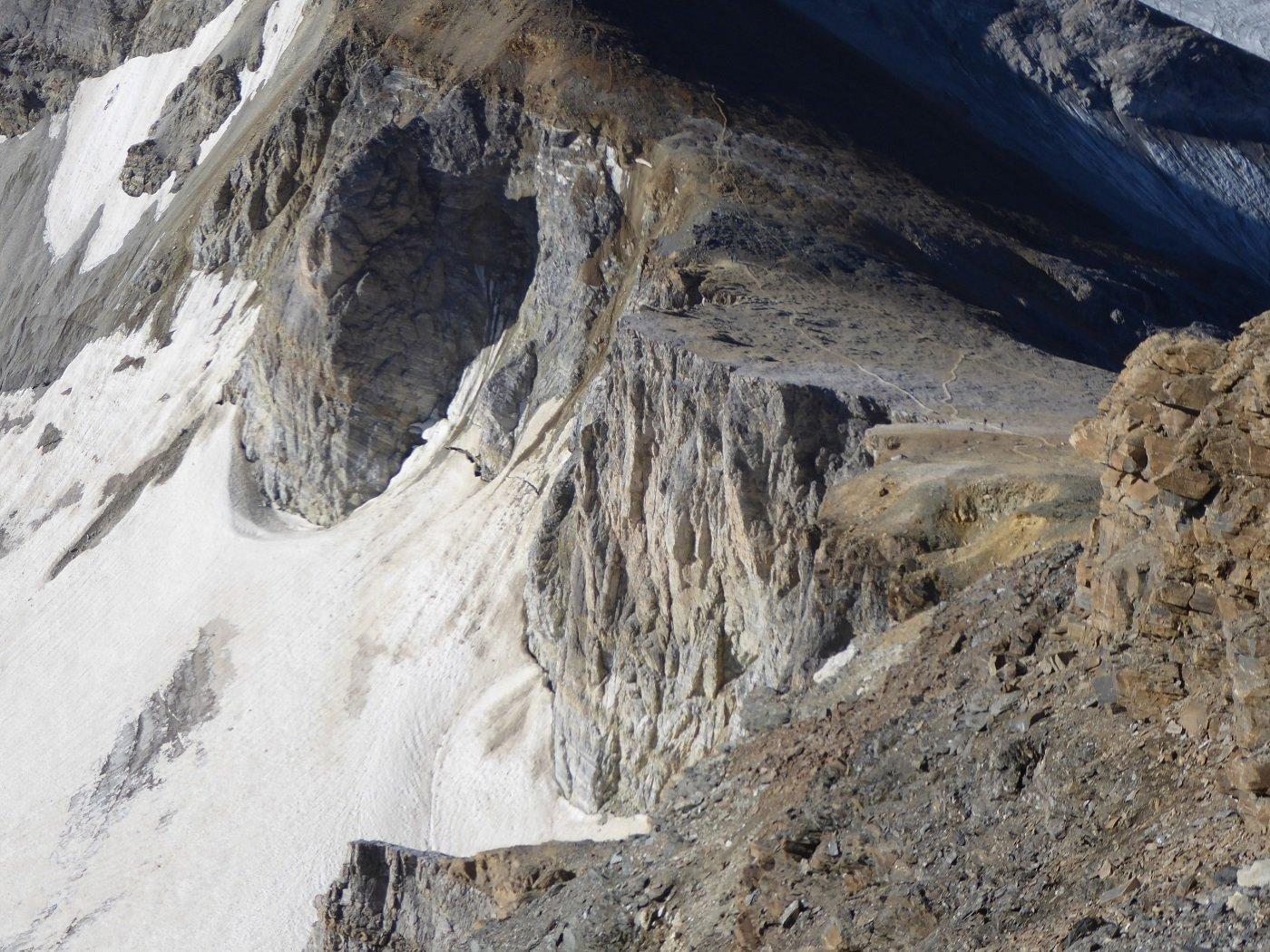Lo Schollijoch visto dalla vetta dell'Inners Barrhorn.