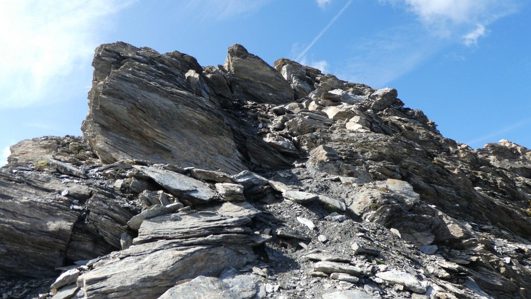 il risalto roccioso finale che porta in cima alla Pointe de l'Arselle