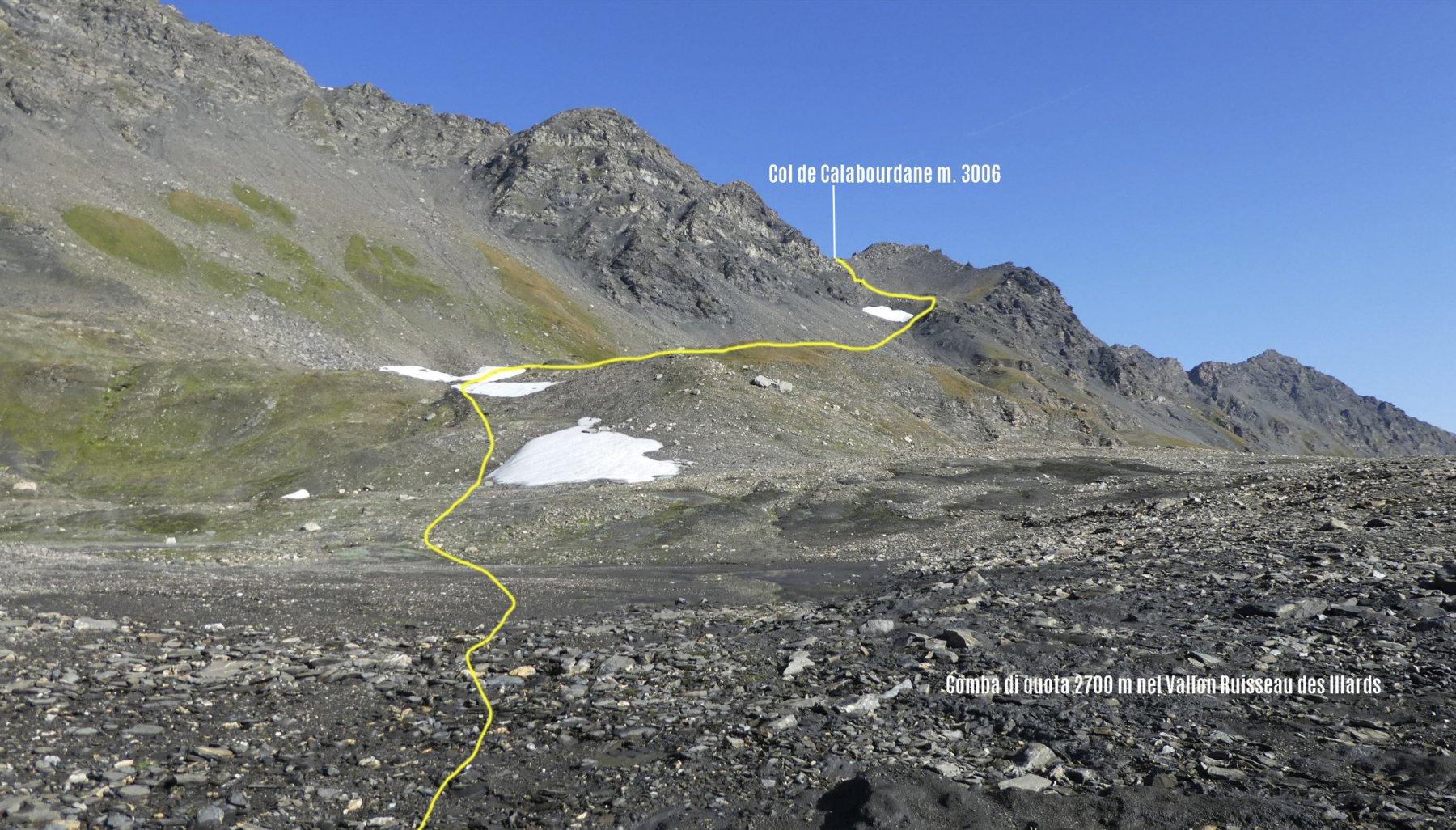 percorso da fare per raggiungere il Col de Calabourdane dalla comba di quota 2700 m