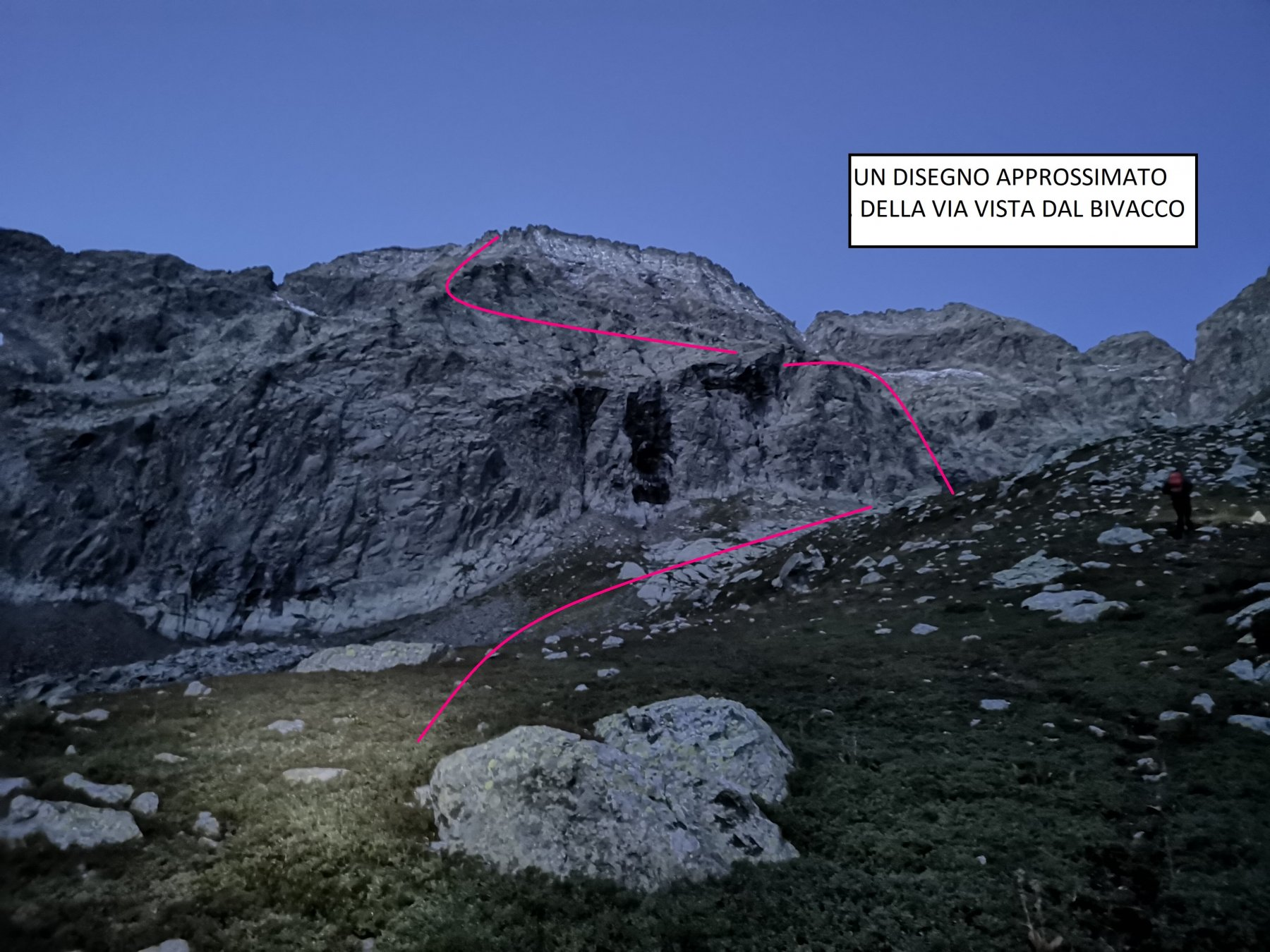 La via, come appare dal Bivacco Gandolfo.