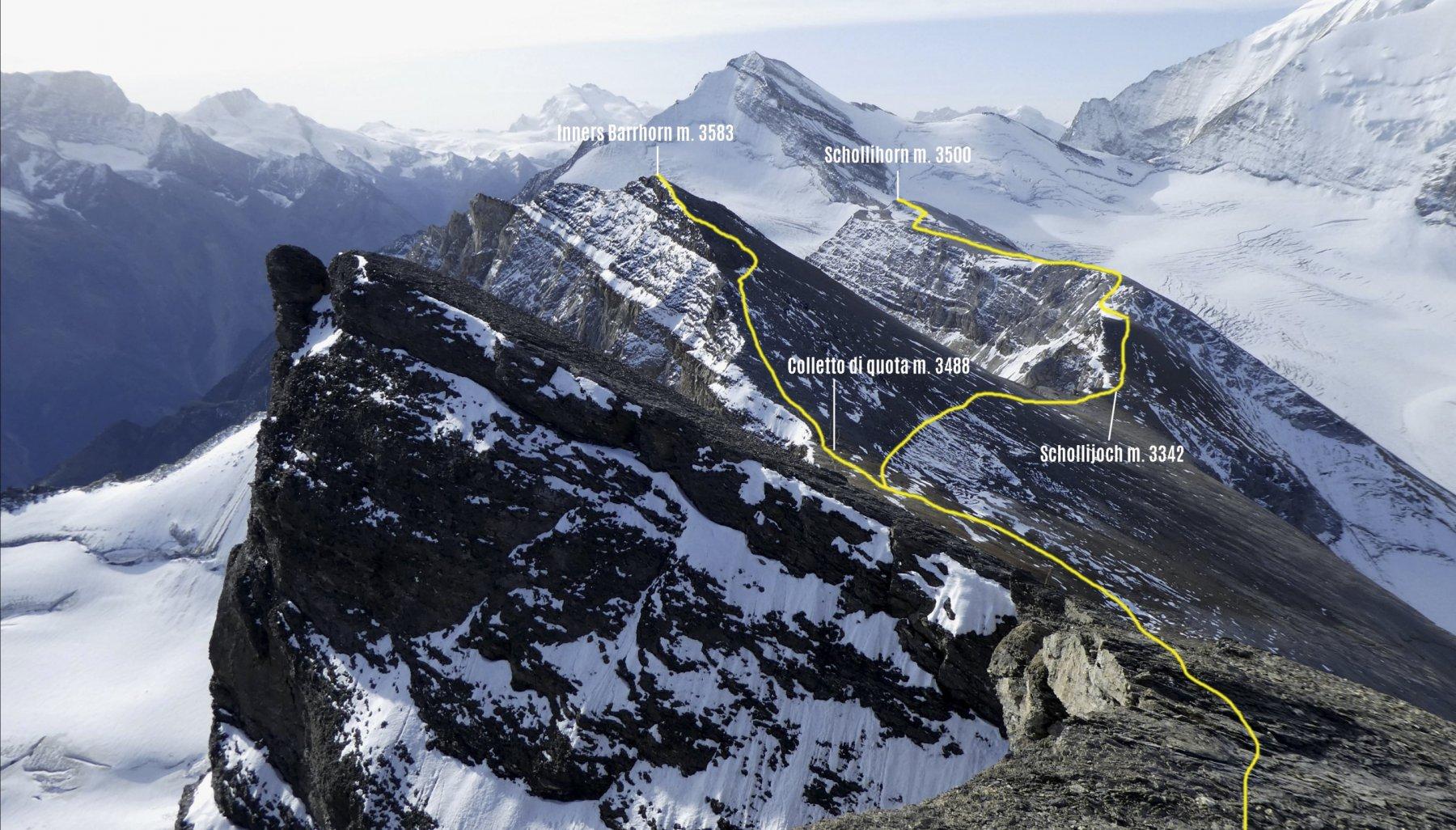 itinerari di salita a Inners Barrhorn e Schollihorn visti dalla cima dell'Ussers Barrhorn