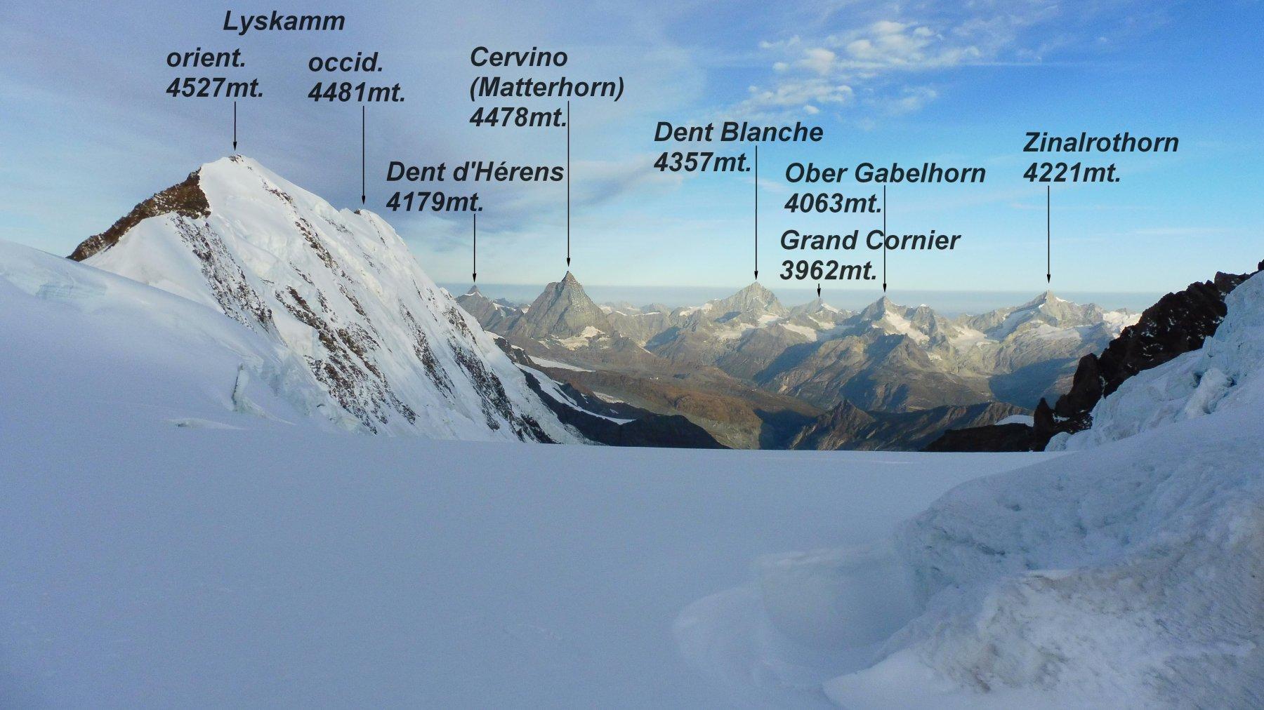 Panorama sui 4000 del Vallese, visti da qua appaiono molto piccoli.