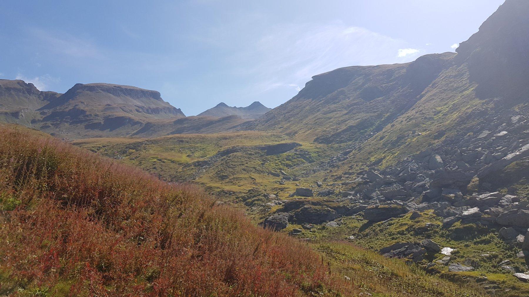 All'Alpe Naga si vedono le due Punte di Tanzonia e, sulla destra, l'omonimo passo
