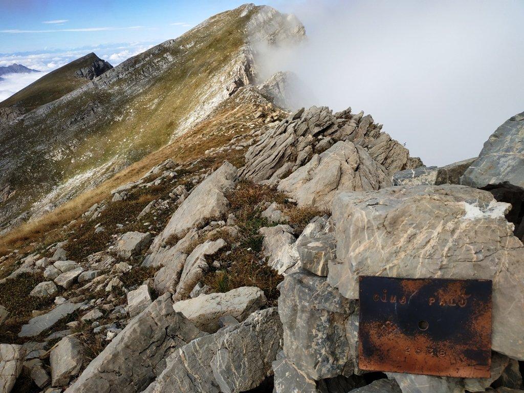 Vecchia targhetta staccata su cima Palù.