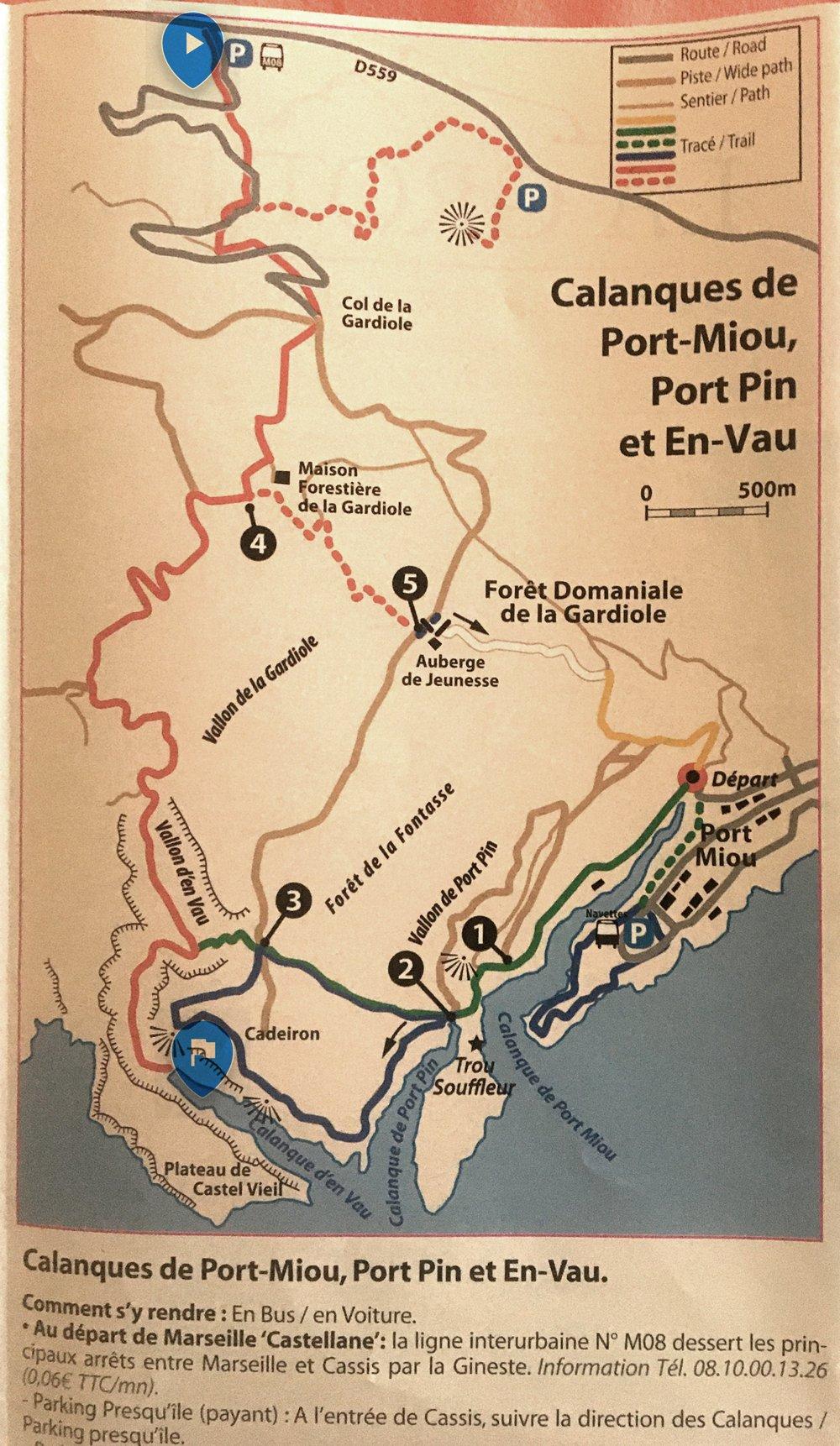 Mappa dal parcheggio (se si passa da Marsiglia, l'accesso da Cassis è più rapido)