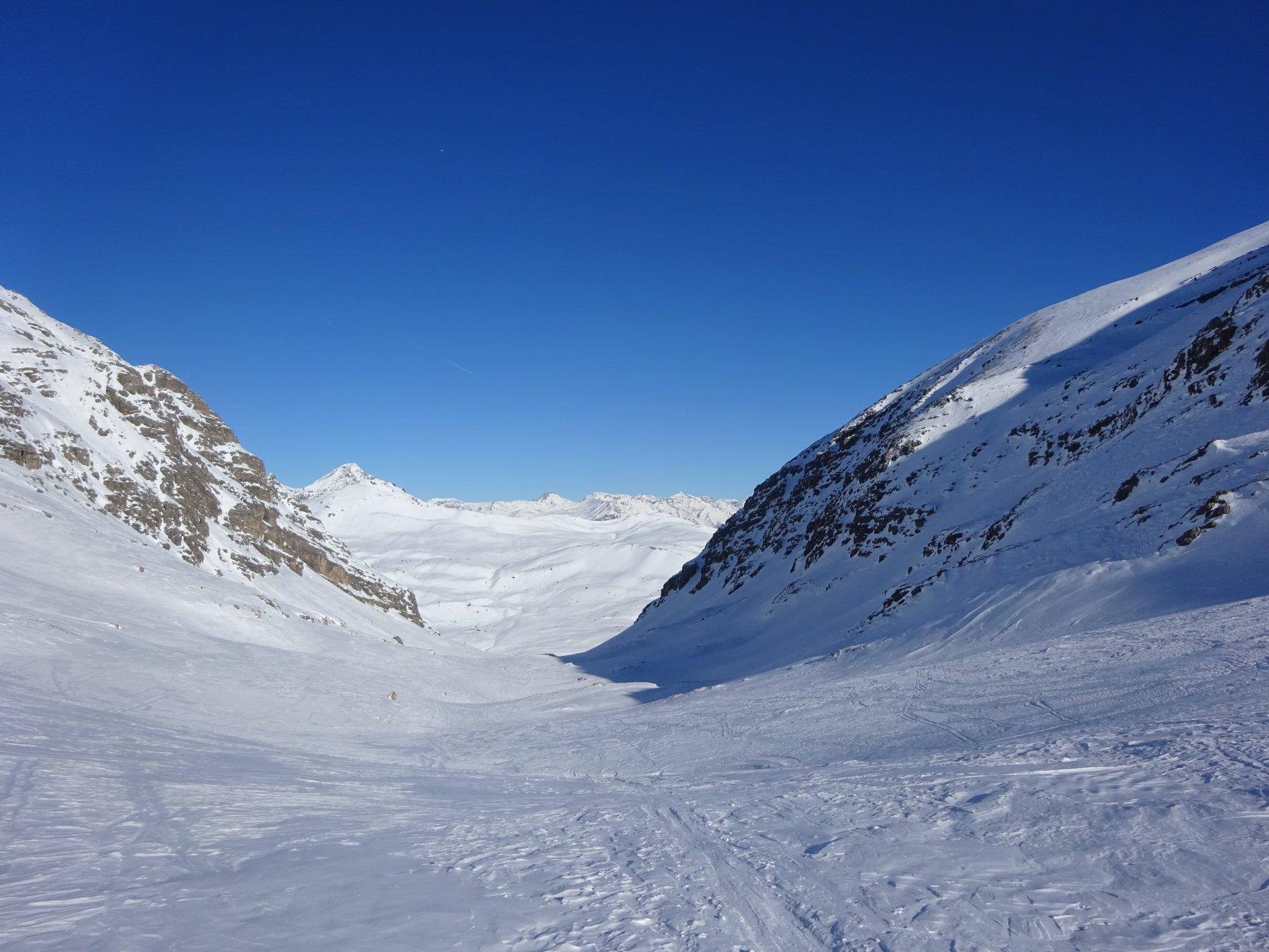 Parte alta della Combe du Lasseron dal Col du Lasseron