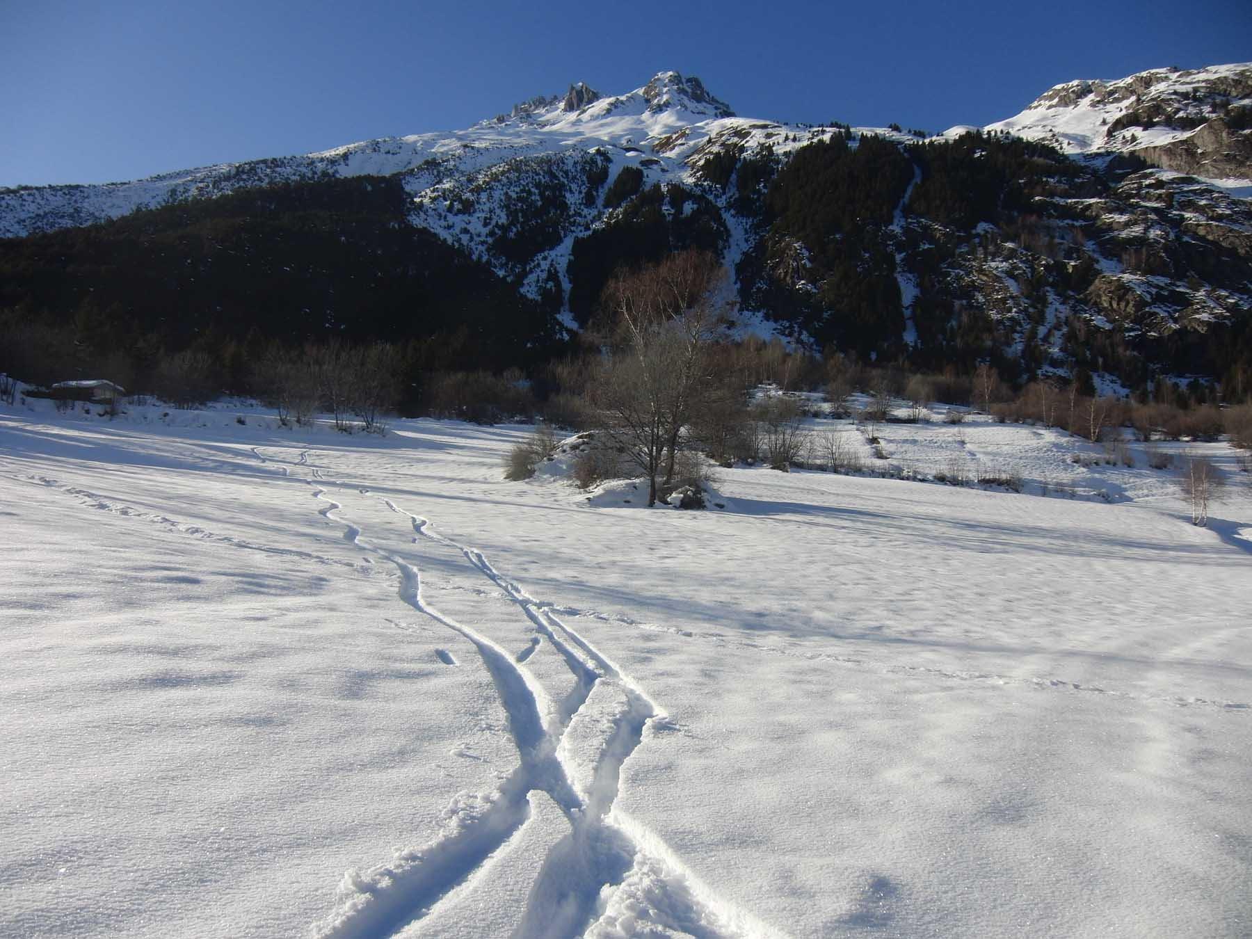 Bella neve sui prati bassi