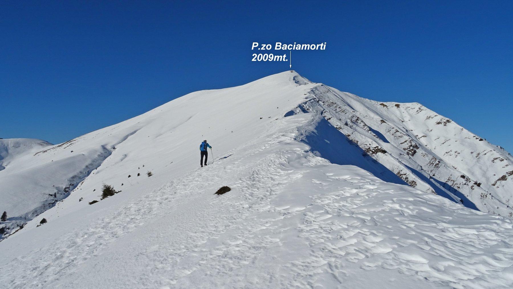 Sulla cresta che sale verso il P.zo Baciamorti.