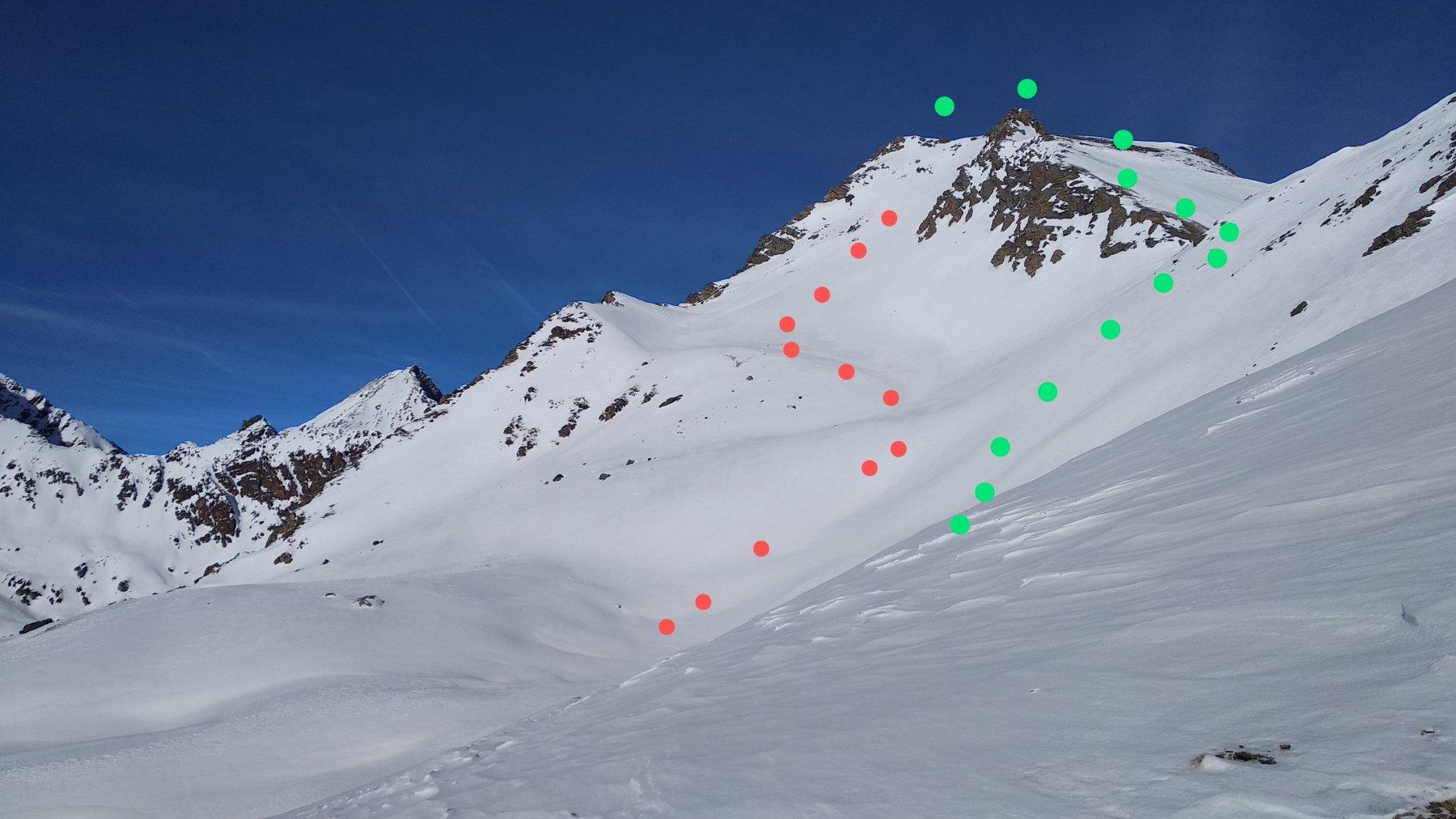 in rosso il pendio sud, in verde il percorso attraverso il colle che separa la cima dal mont Vallonet