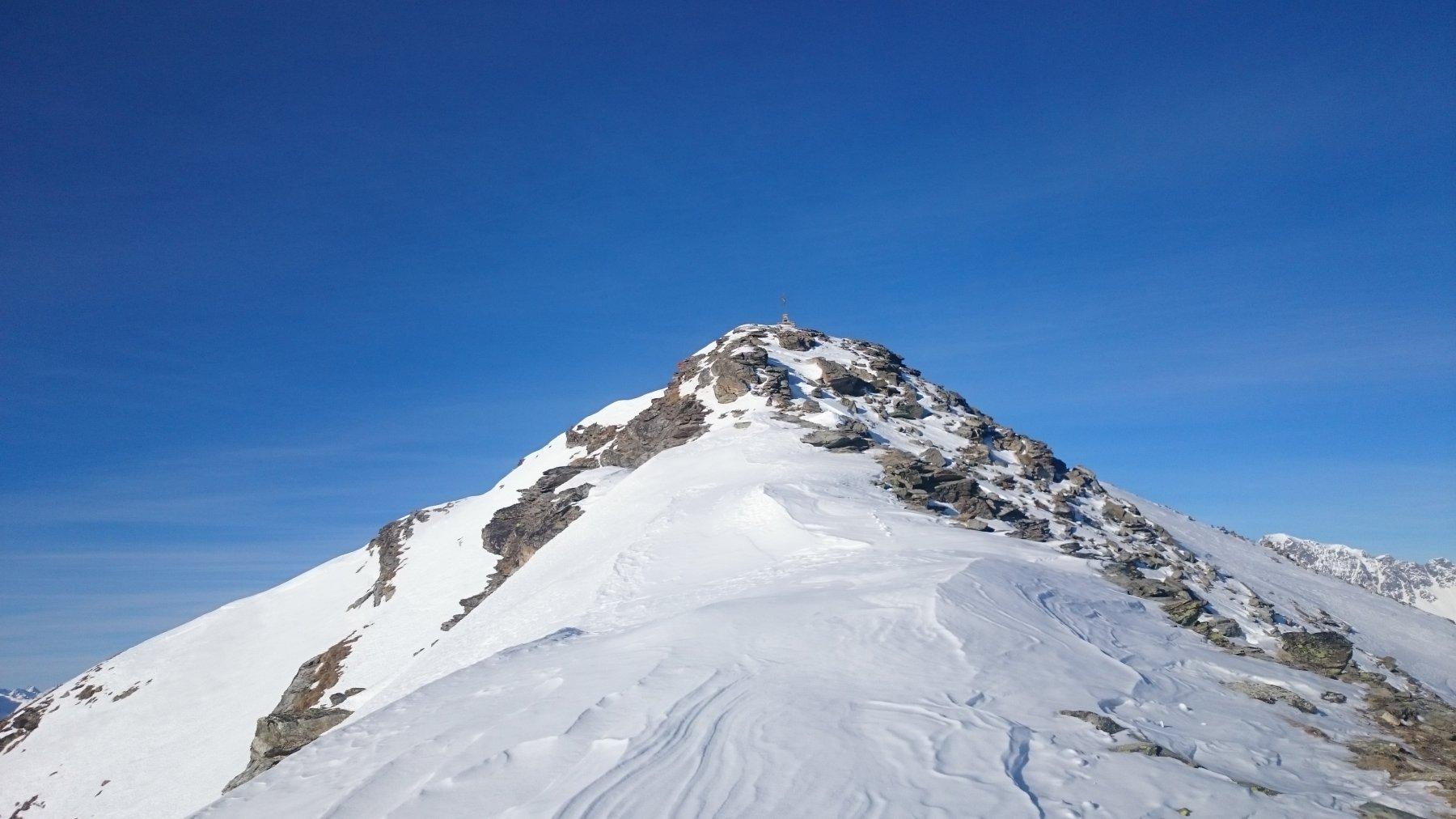La cresta finale, dove abbiamo lasciato sci.