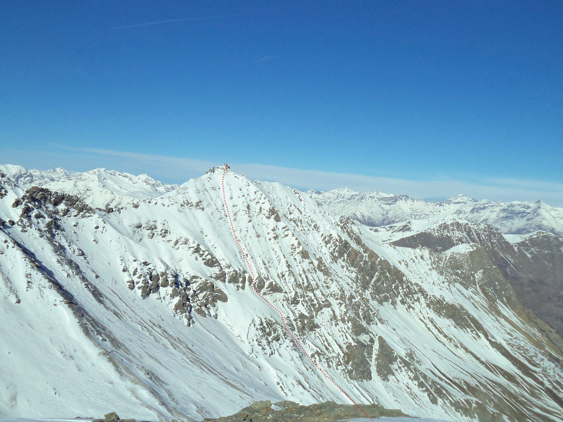 Il versante sud-est dell'Albergian visto dalla Fea Nera (foto gennaio 2015)