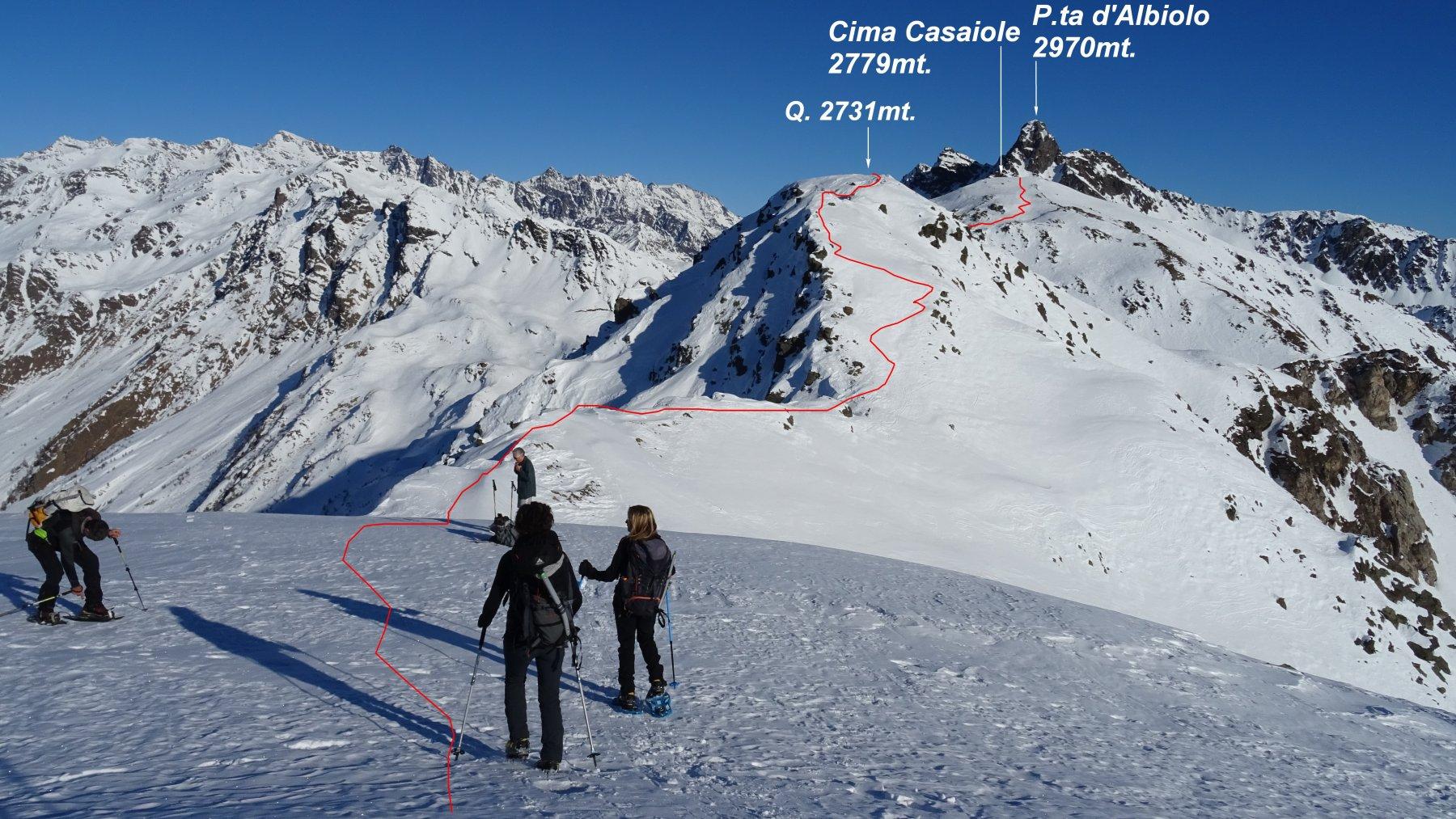 In rosso la traccia della traversata in cresta vista dal M.Tonale occid. 2694mt.