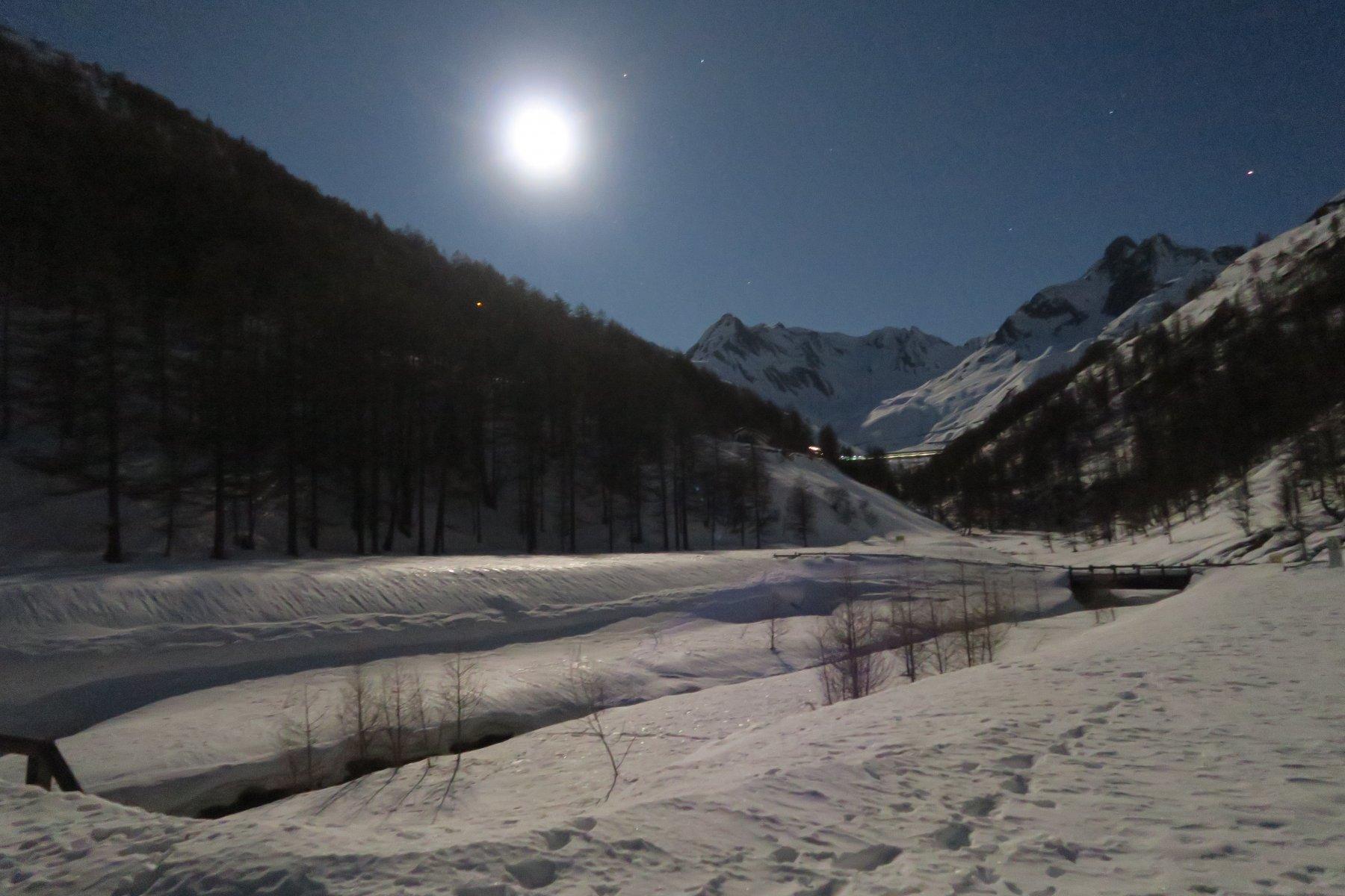 la luna illumina il percorso
