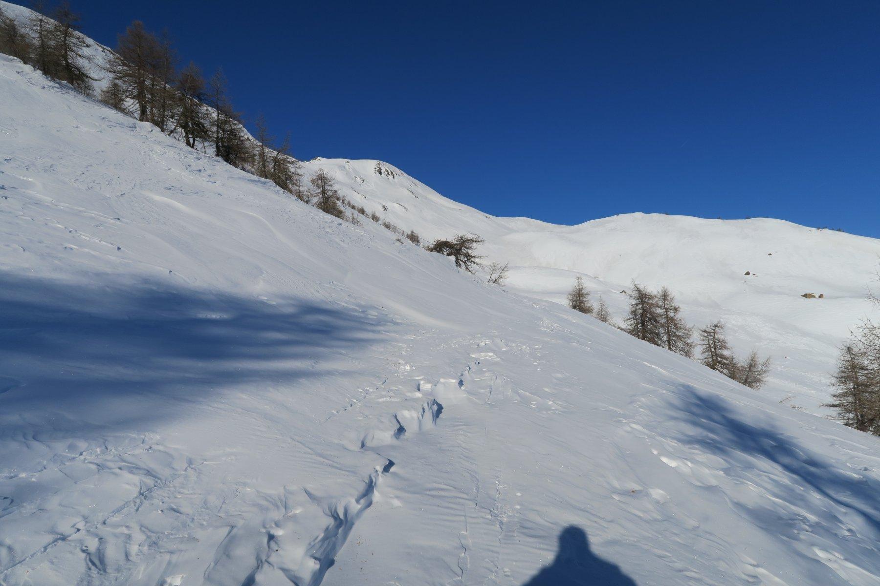 la strada poderale che costeggia la punta di Metz e porta all'alpeggio omonimo