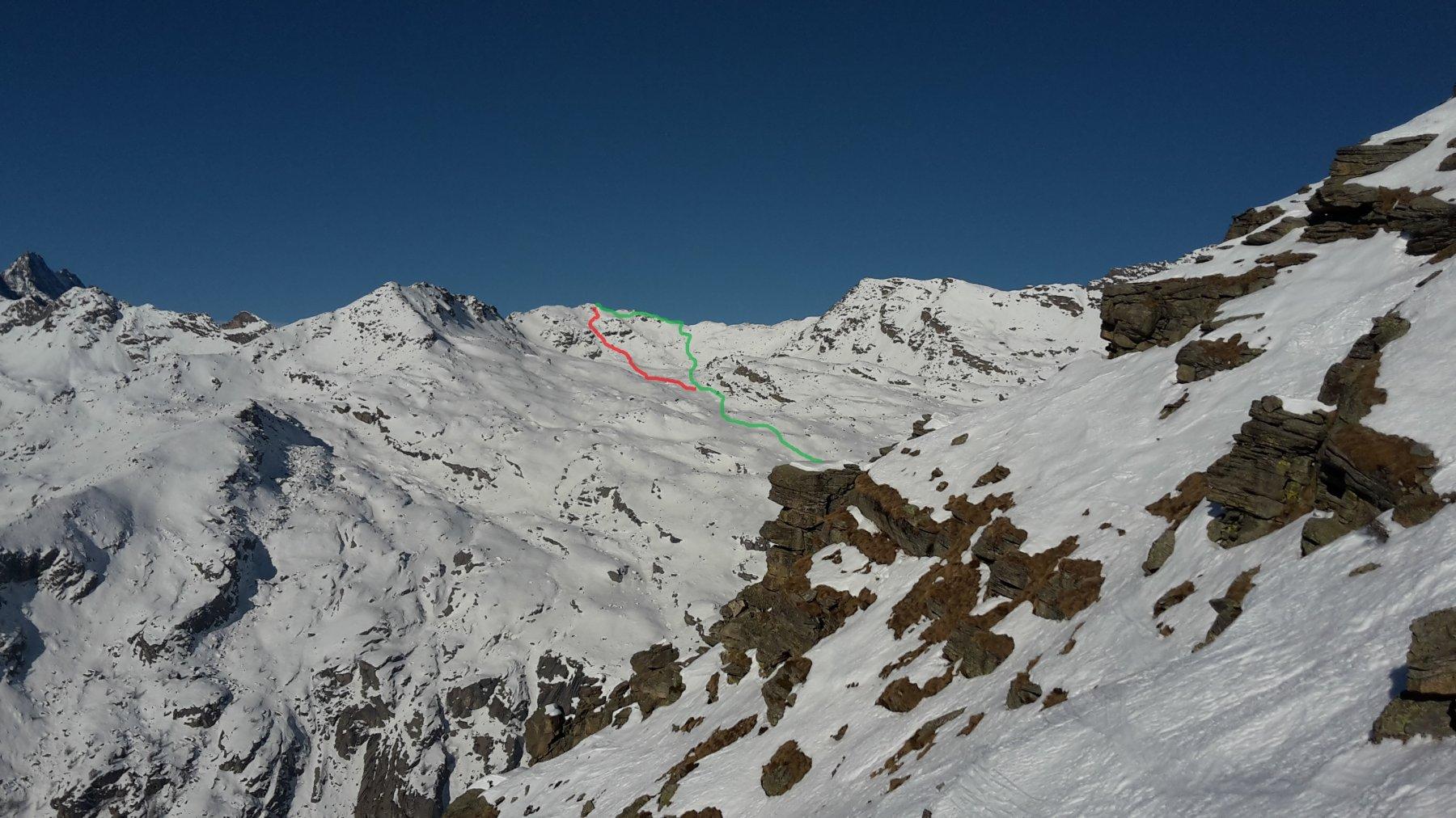 Parte alta vista salendo il Gran Bernardè (verde salita - rosso discesa)
