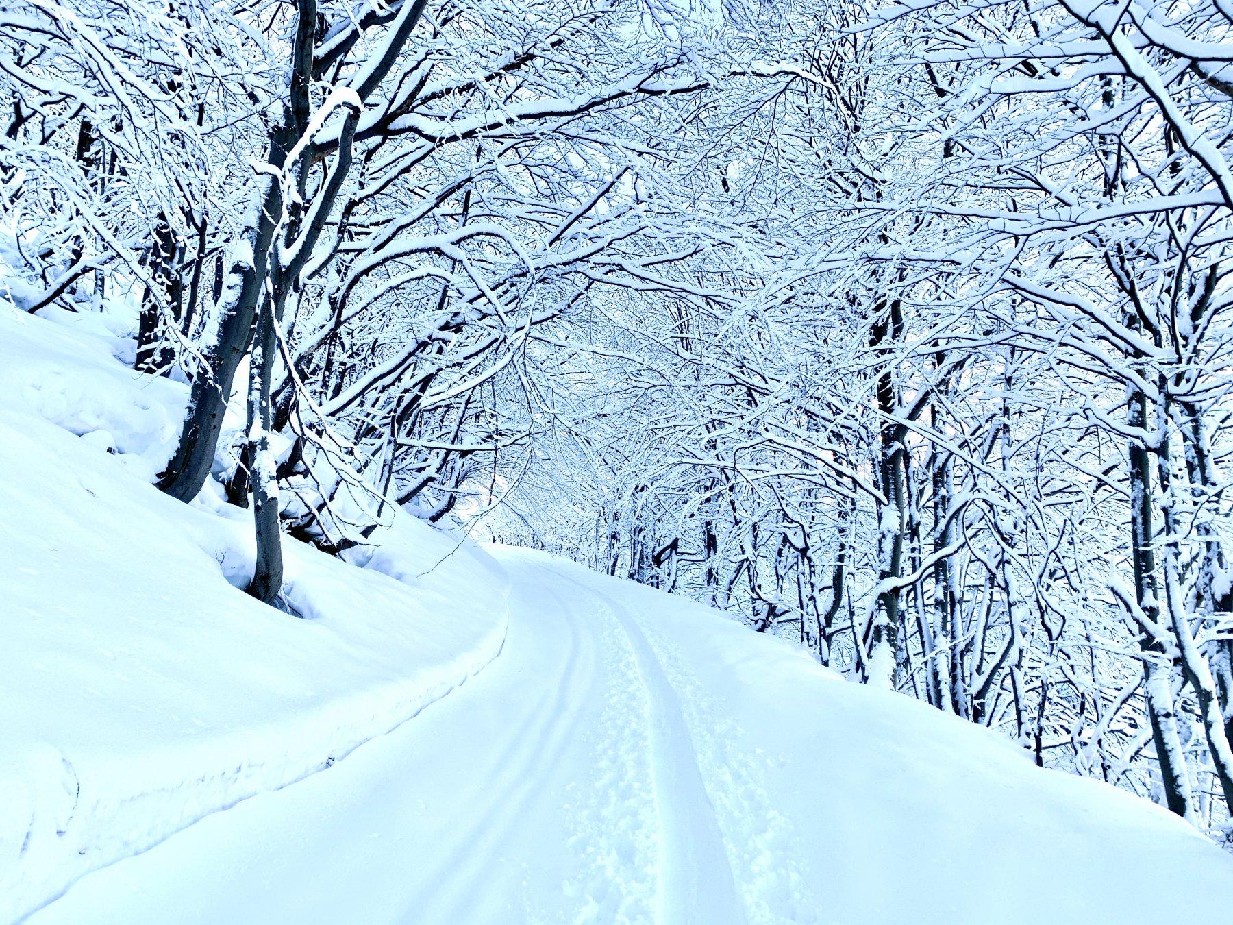 la partenza dopo la nevicata