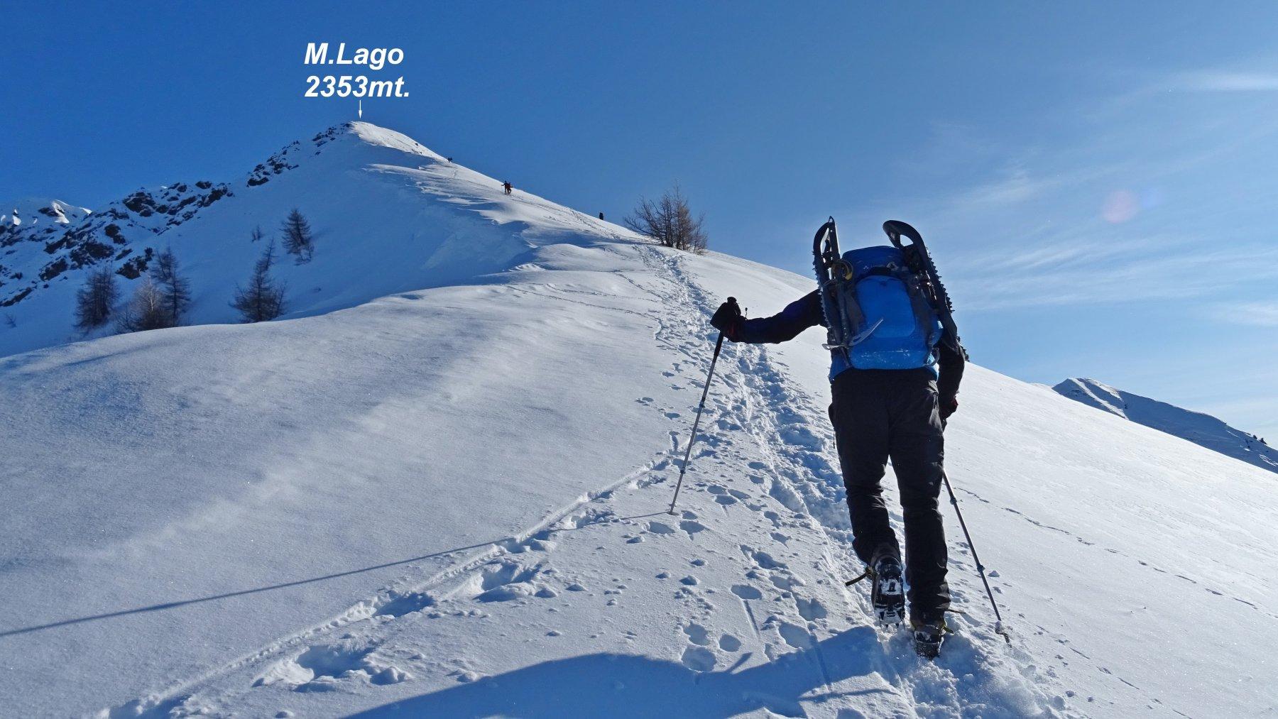 Saliamo  lungo l'estetica cresta che porta in vetta al M.Lago.