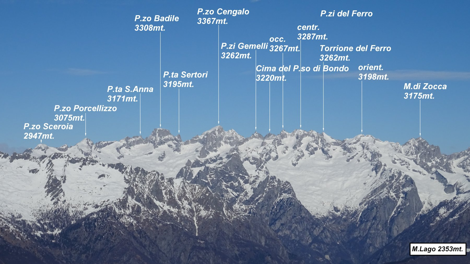 Panorama dalla vetta su Badile e Cengalo.