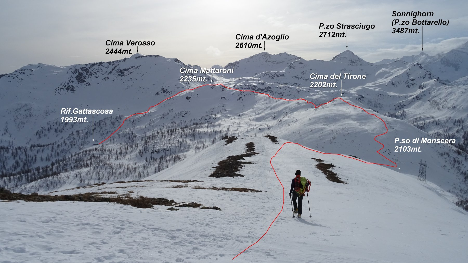 In rosso la traccia del percorso in cresta, visto scendendo dal P.zo Pioltone.