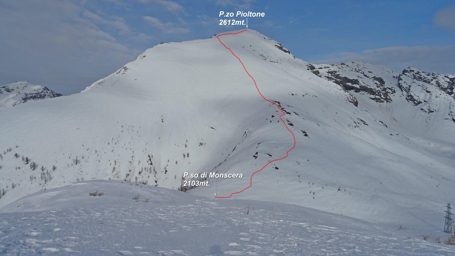In rosso la traccia fatta dal P.so Monscera 2103mt. al P.zo Pioltone 2612mt. vista dalla Cima del Tirone 2202mt.