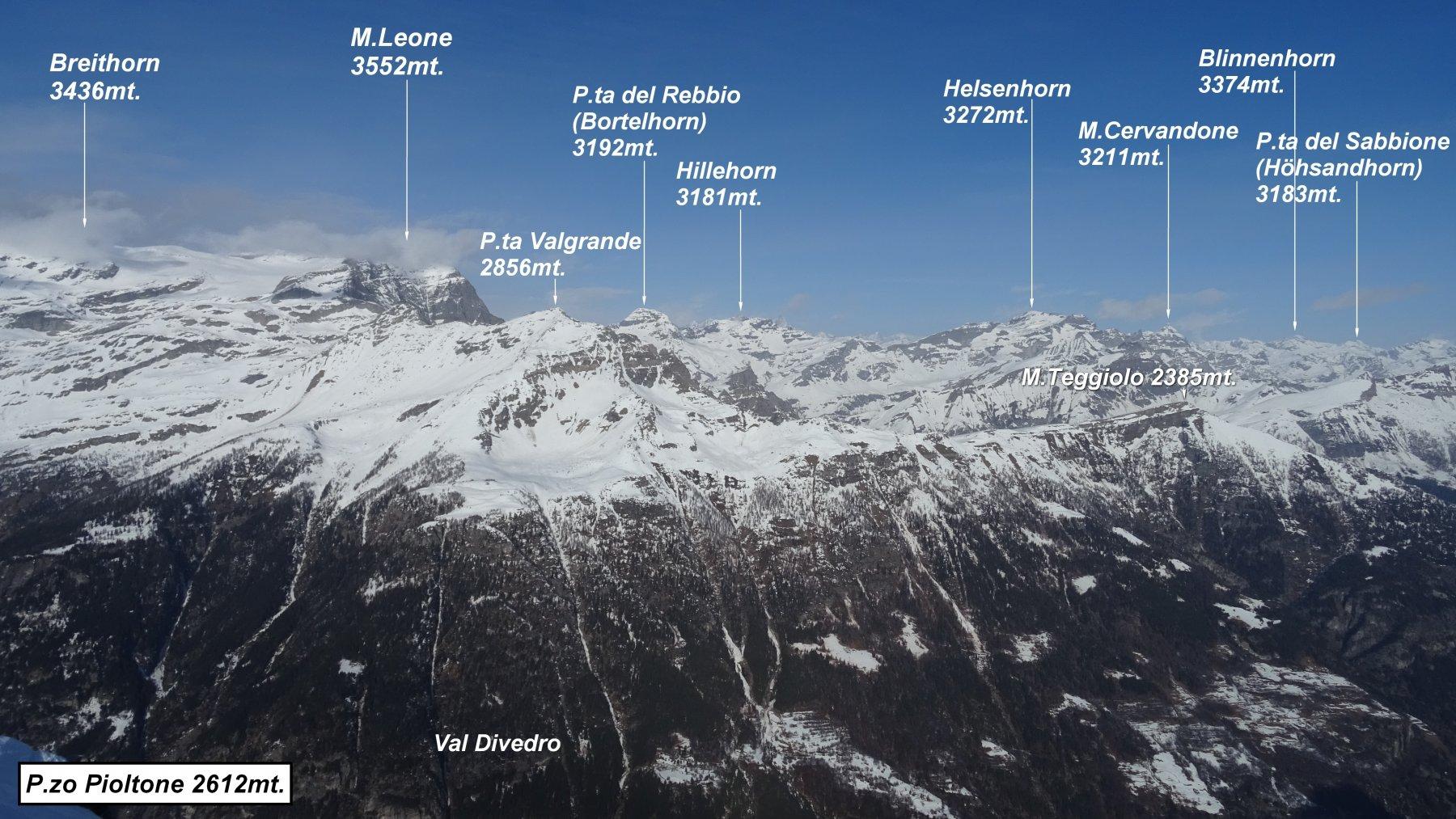 Panorama dalla vetta del P.zo Pioltone.