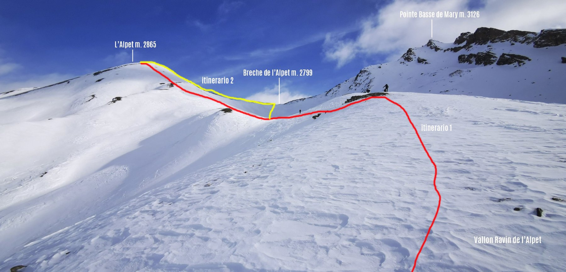 parte alta dell'itinerario di salita osservata da quota 2550 m