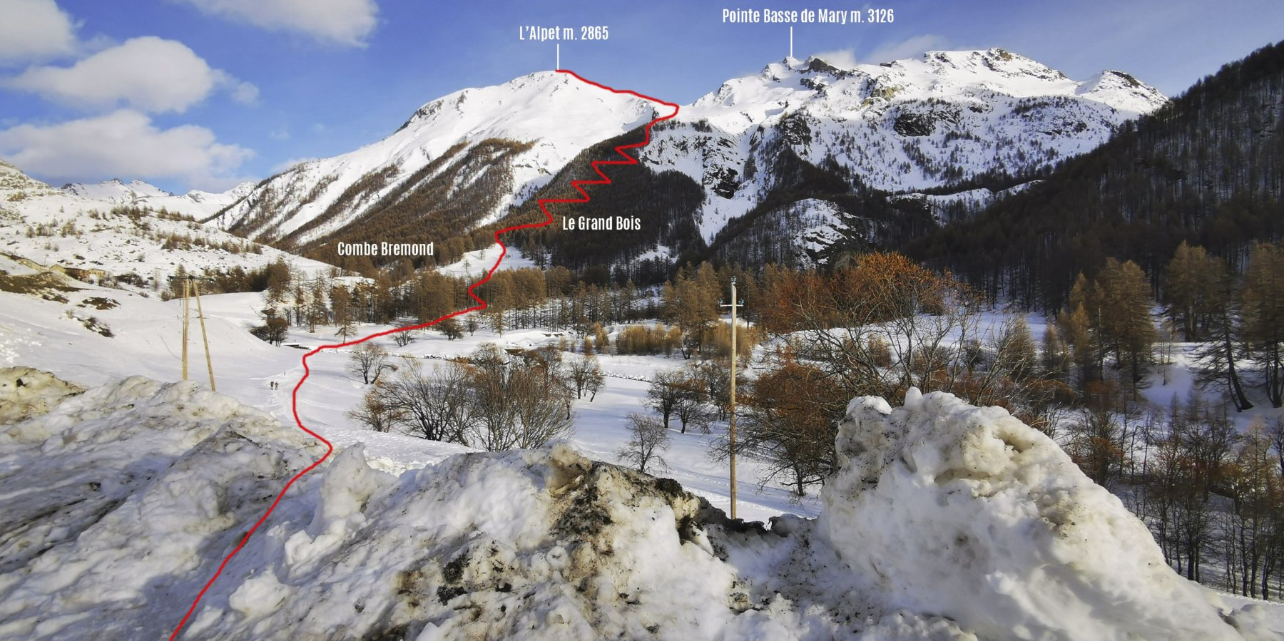 itinerario di salita osservato dalla Chiesetta del Maurin