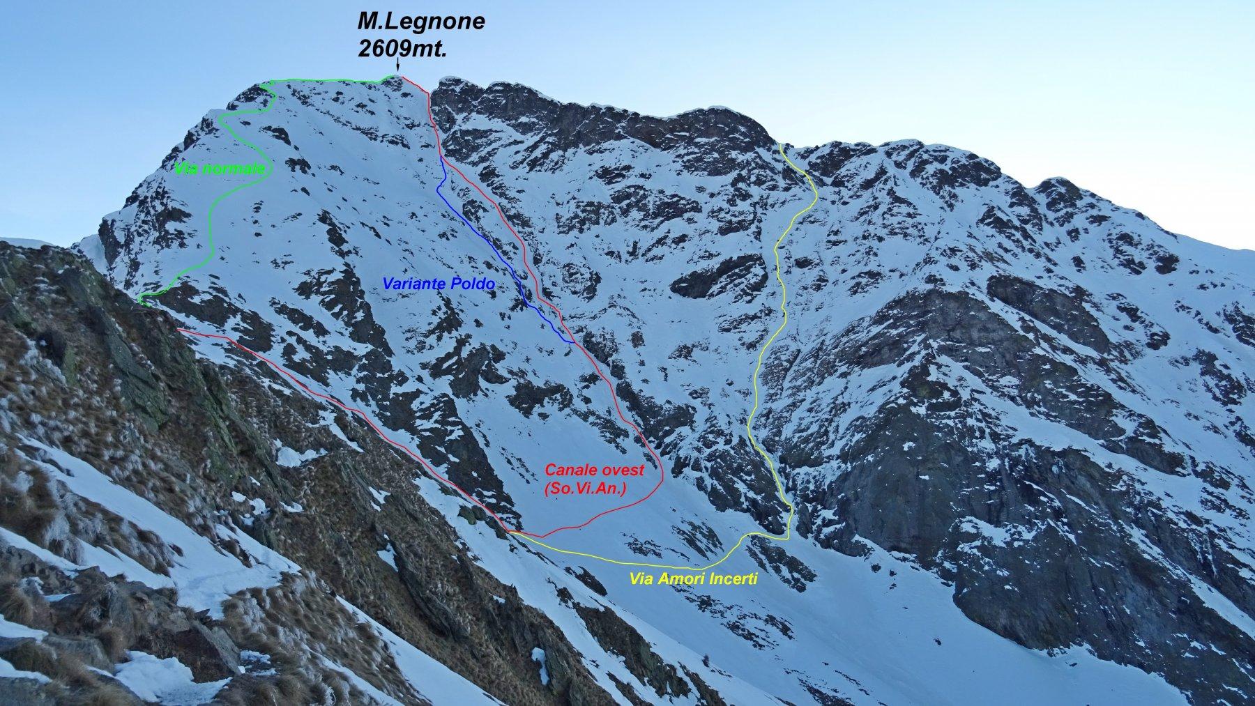 Versante sud-ovest del M.Legnone e le varie vie di salita.