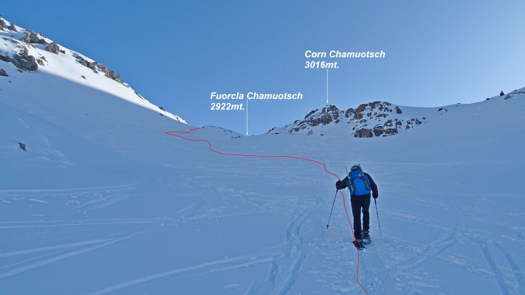 In rosso la traccia di salita verso la Fuorcla Chamuotsch.