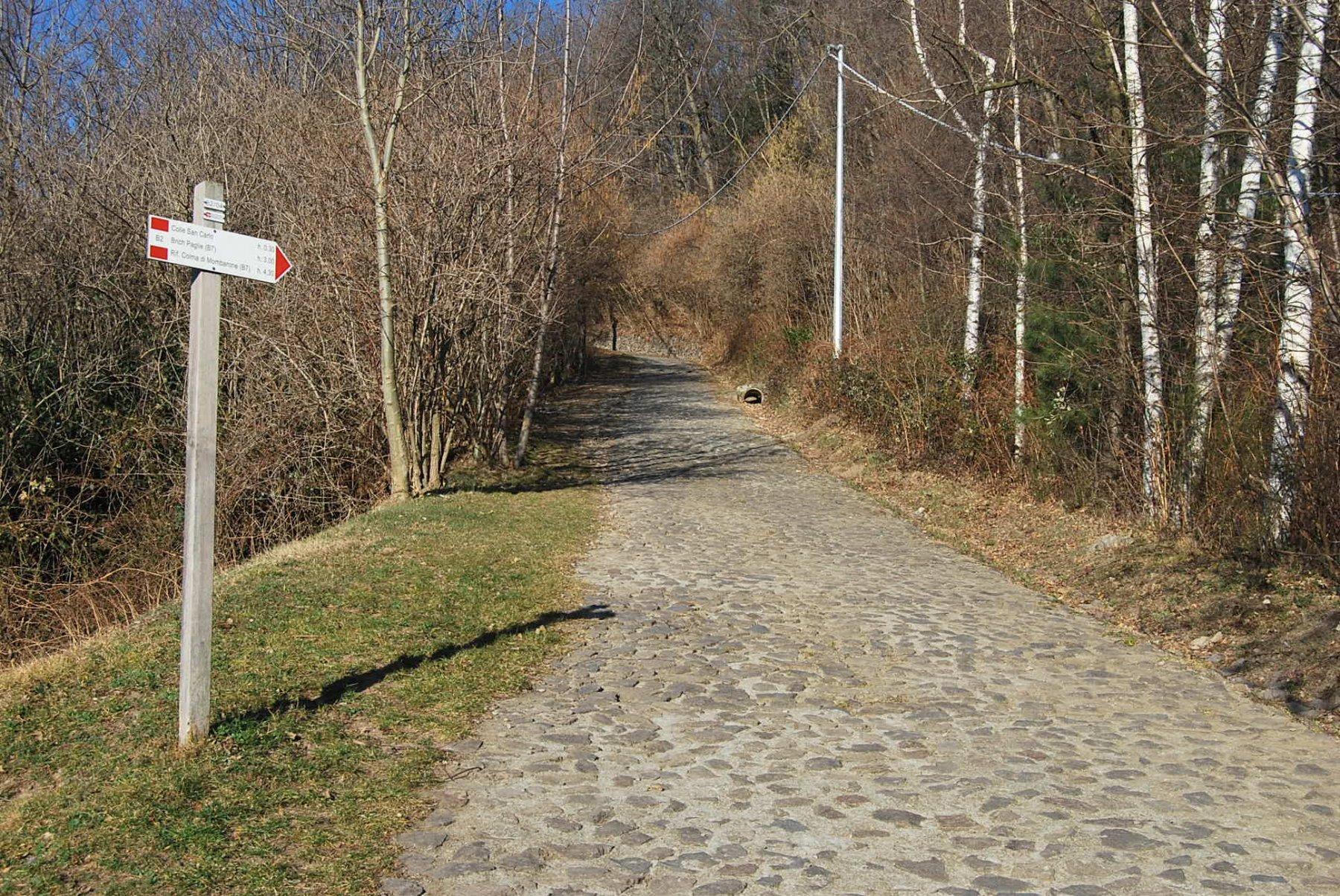 Il tratto ciottolato del sentiero B2 per S. Carlo