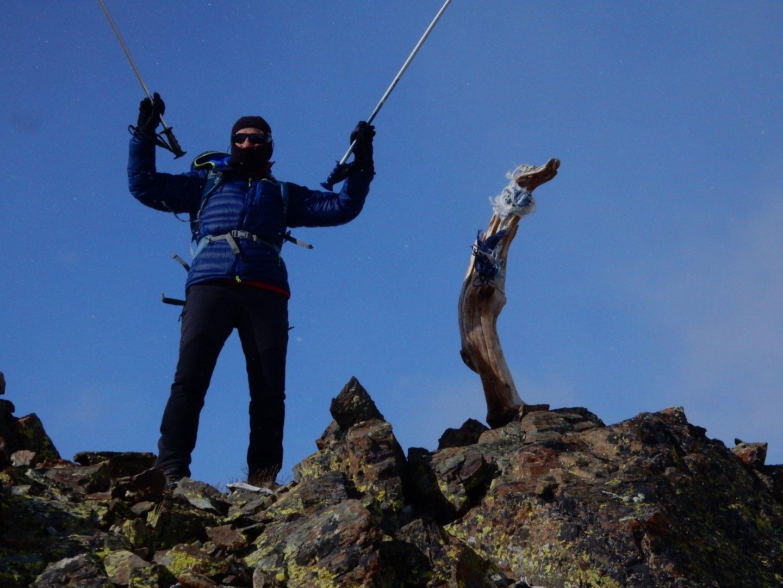 Enzo sulla quota 2642 m,  tra il Roccio e il Colletto delle Lobbie