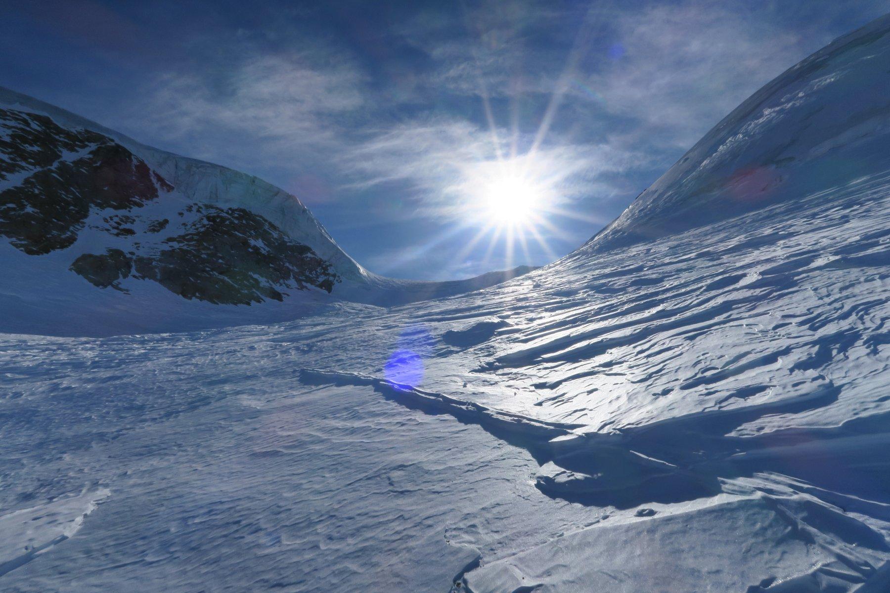 effetti del vento sul ghiacciaio