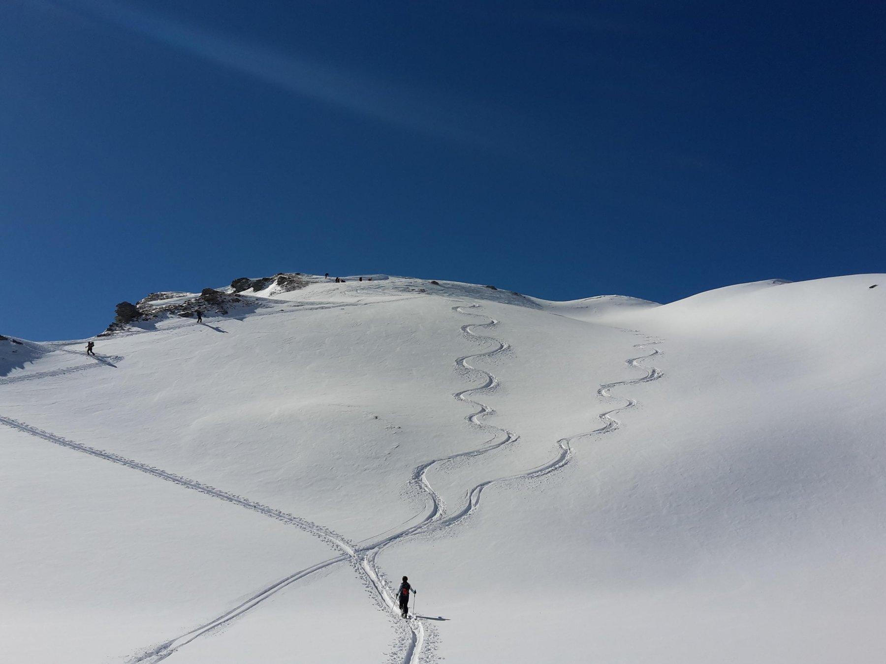 Punta a sinistra del colle, qui neve ottima