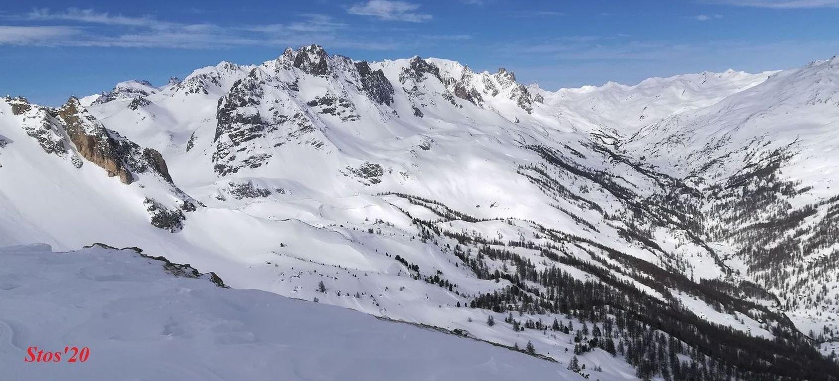 gruppo Queyrellin, Pointe des Cerces  e alta val Claree dalla cima