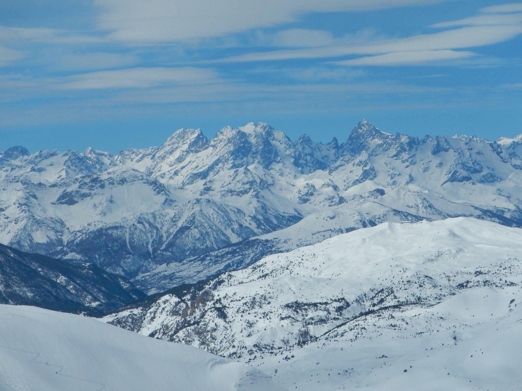 vista sul Monte Pelvoux e la Barre des Ecrins