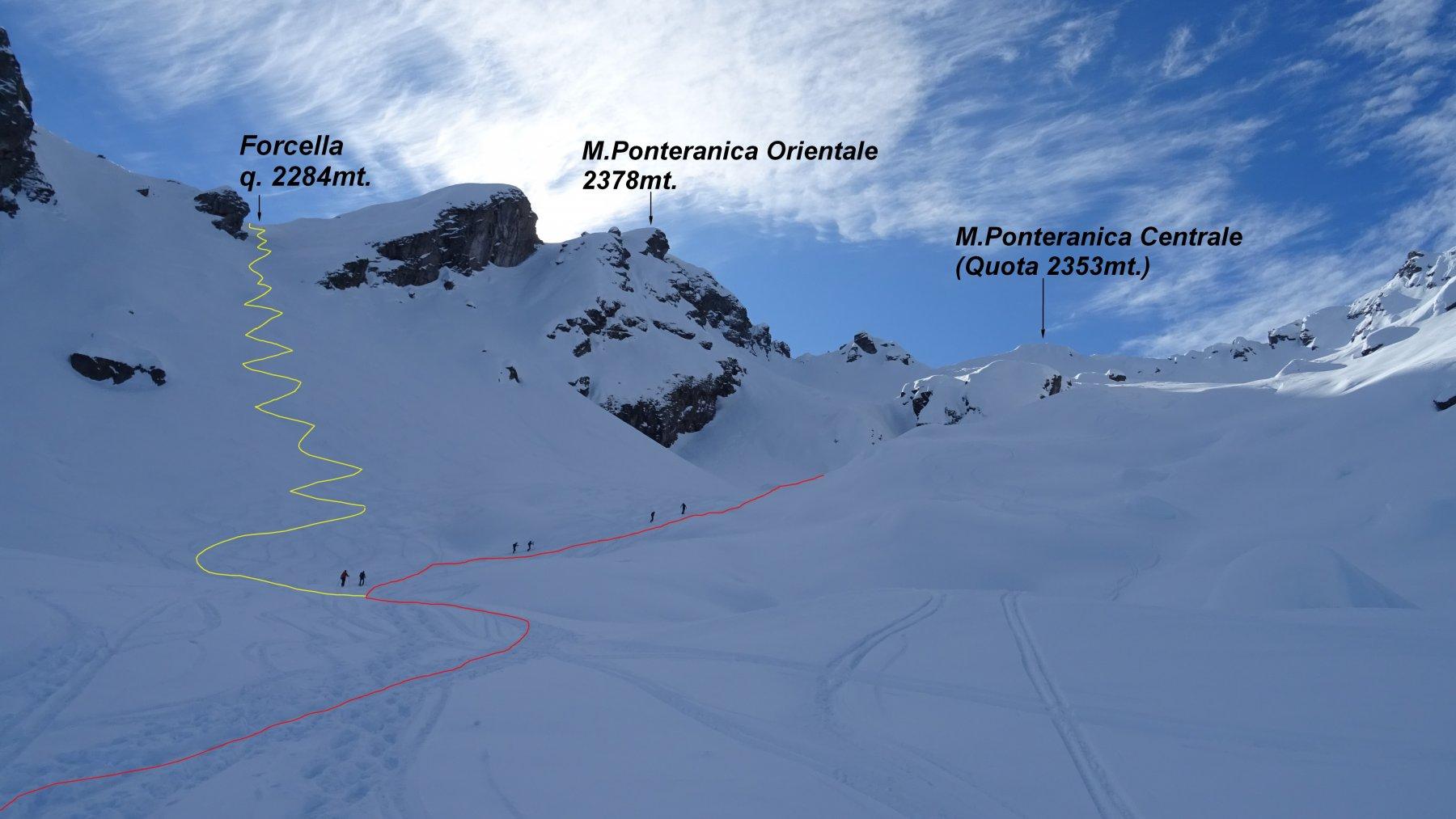 In rosso la traccia di salita al M.Ponteranica Centrale. In giallo la salita al colletto per il M.Ponteranica Orientale.