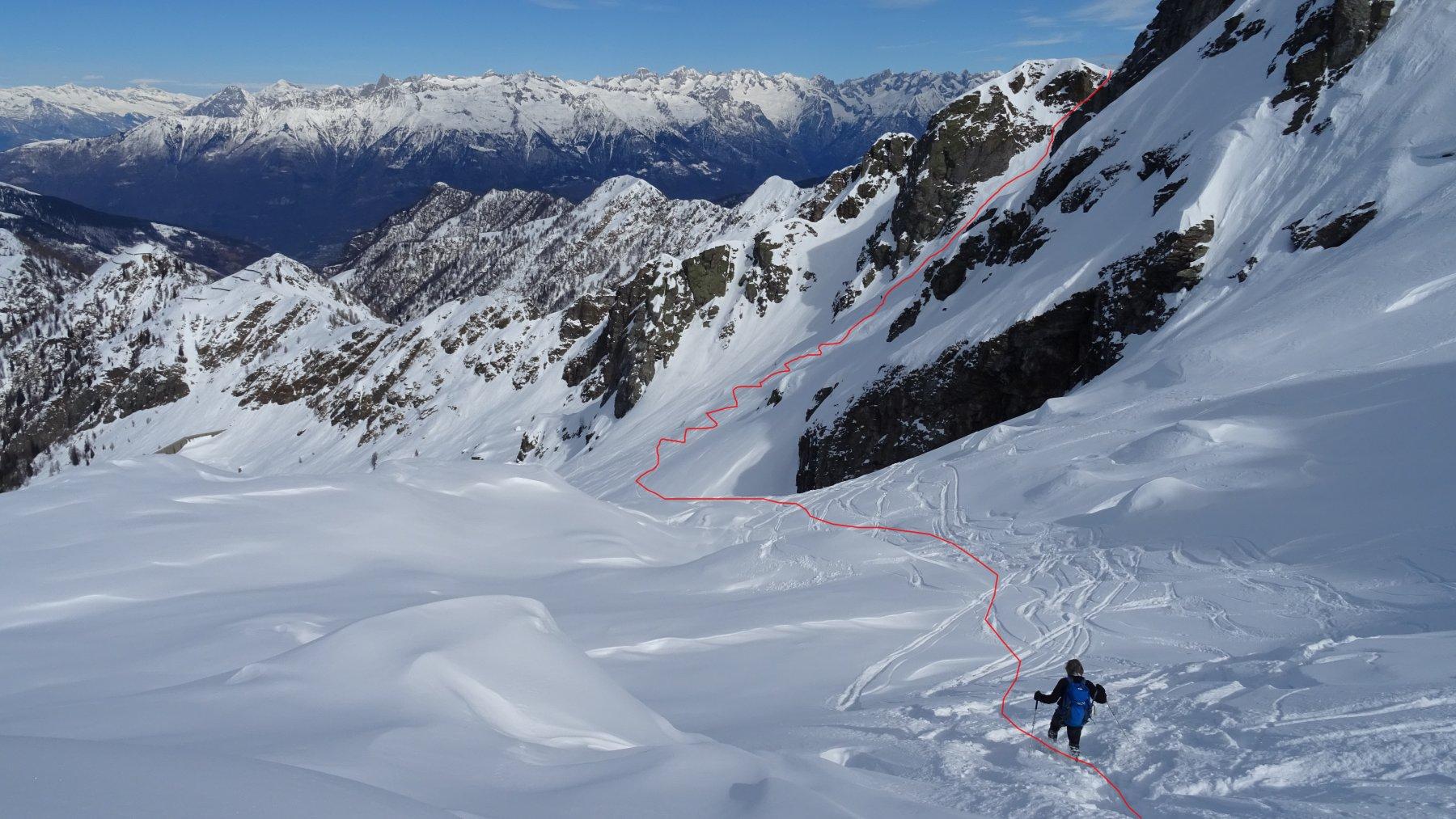 In rosso la traccia di discesa verso l'attacco della salita al M.Ponteranica Orientale.