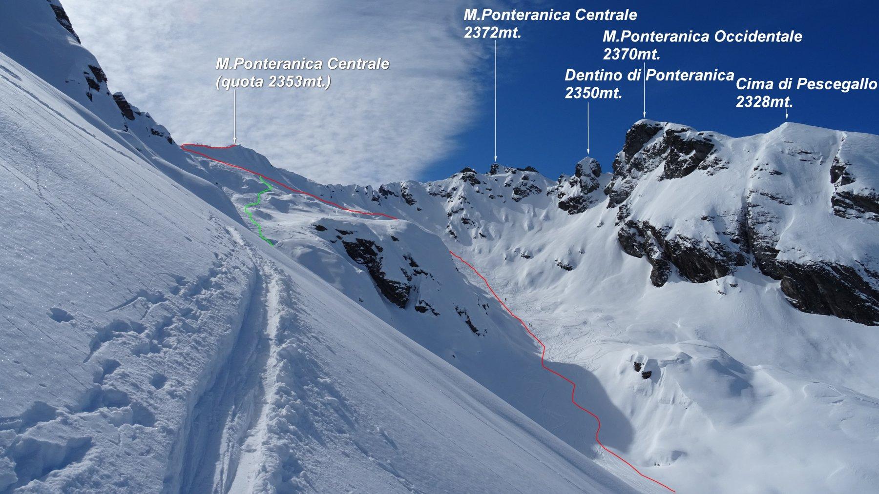 In rosso la traccia di salita fatta salendo il M.Ponteranica centrale q.2353mt. in giallo un tratto della discesa che porta ai piedi del M.Ponteranica orientale.
