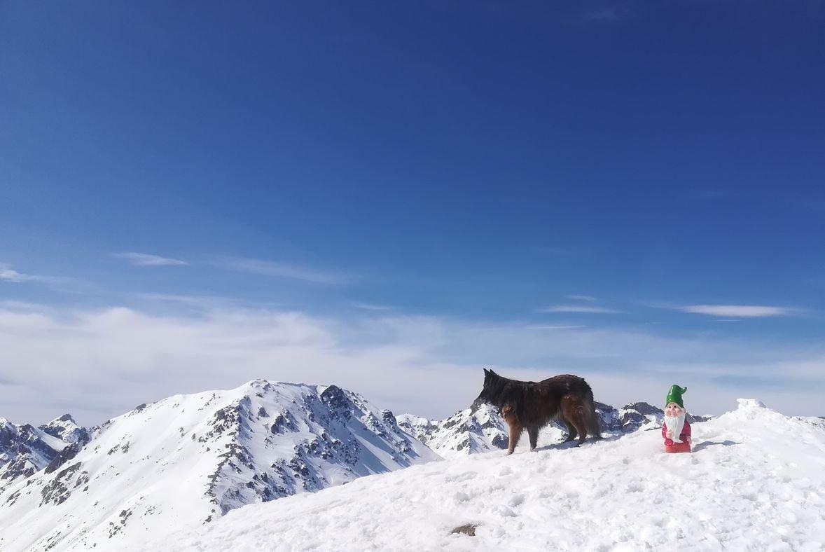 Halya dalla cima guarda il Clot de la Cime