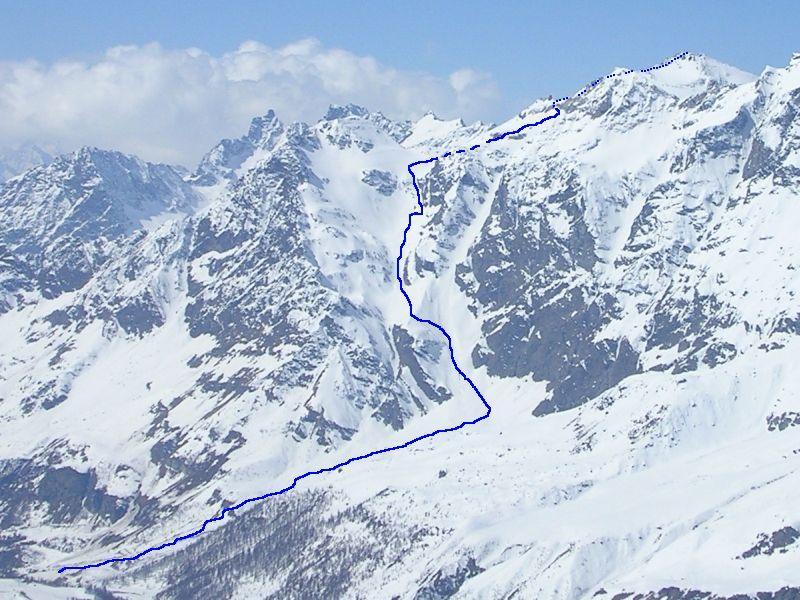 L'itinerario di salita visto dal Colle del Furggen