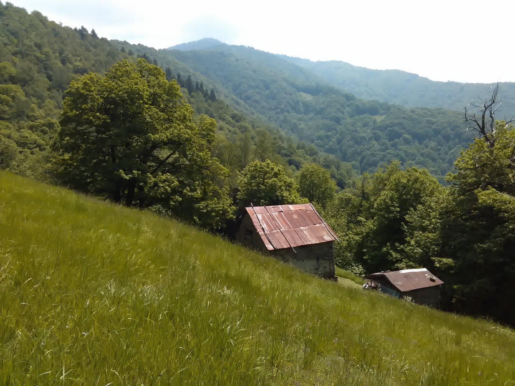 Baite sul sentiero di discesa, in alto il Monte Pigna
