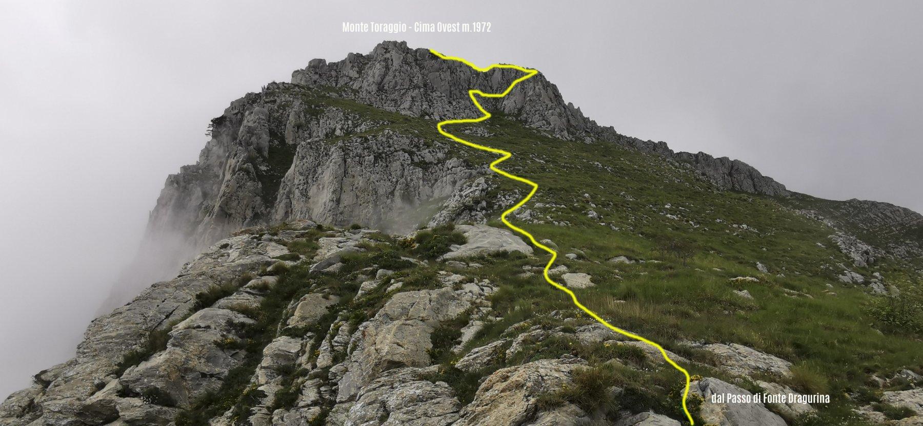 la Cima Ovest del Monte Toraggio vista dal Passo di Fonte Dragurina