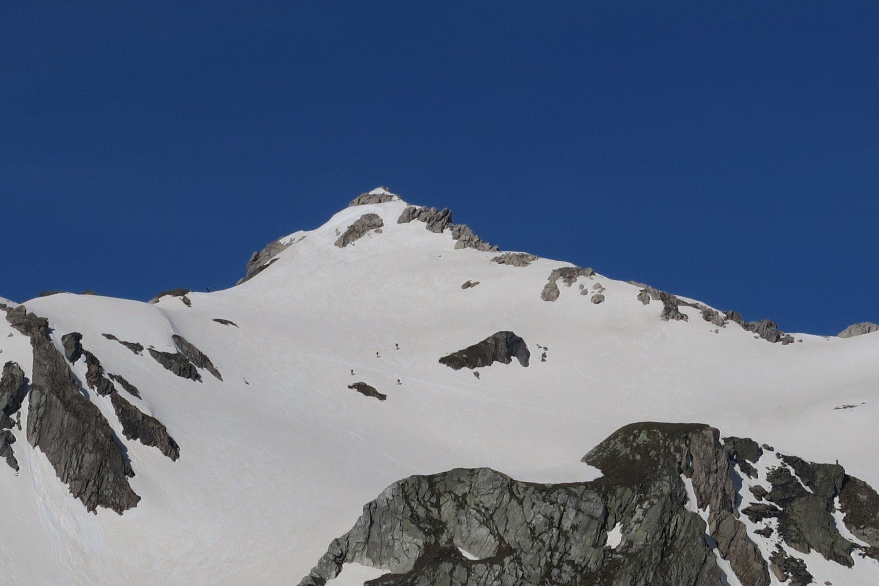 scialpinisti quasi in vetta al Fourchon