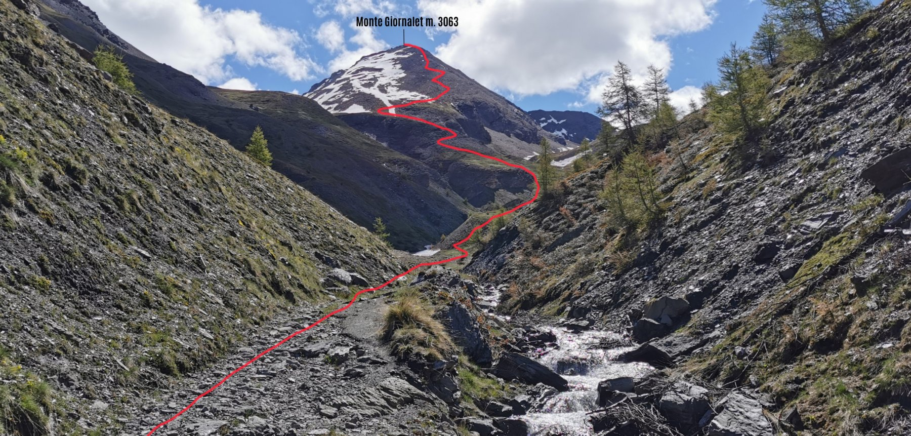 parte alta del percorso osservata dal Vallone Colombiere