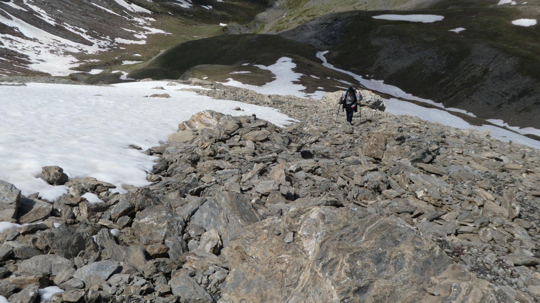 Daniela in salita nella parte alta del versante Ovest del Giornalet