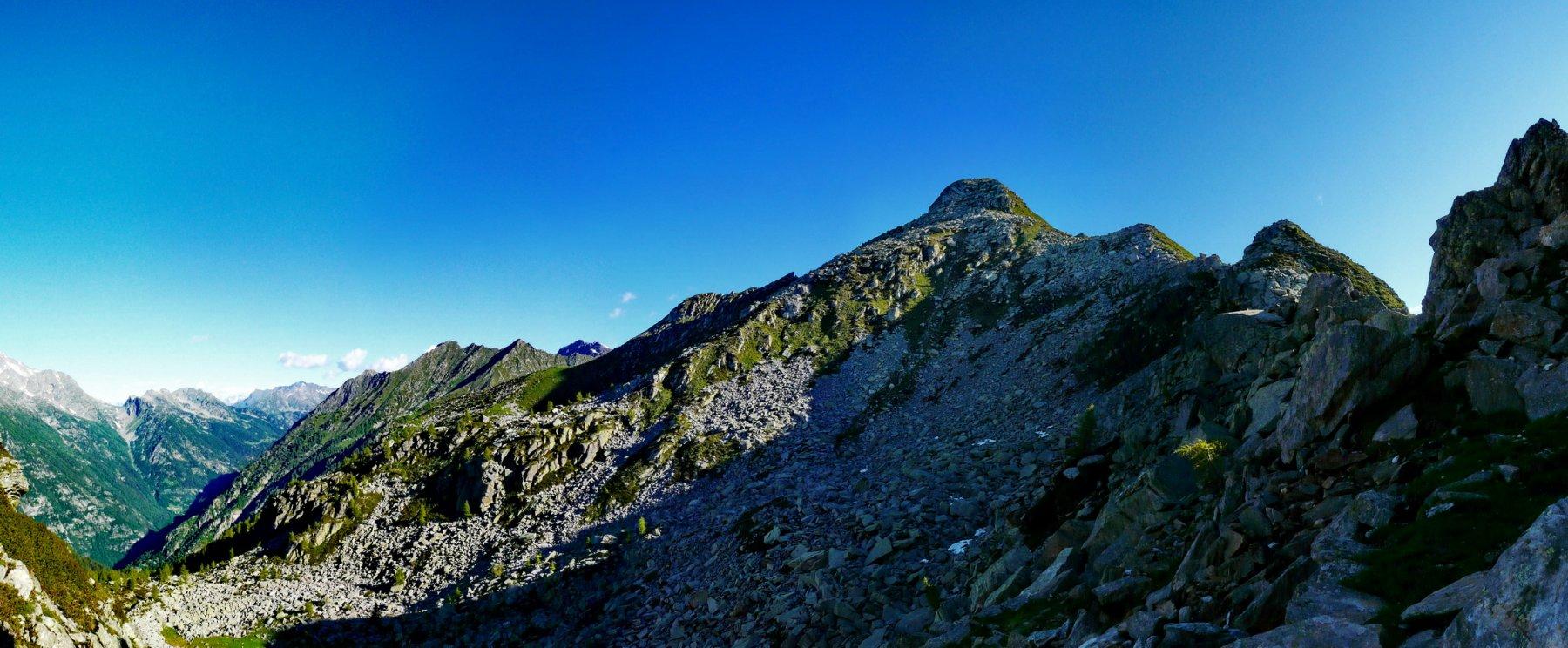 Cresta di salita e cima visti dal colle Piccola Mologna
