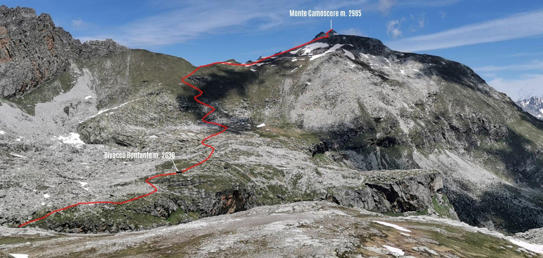 parte alta dell'itinerario di salita osservata dal versante Sud del Monte Chersogno